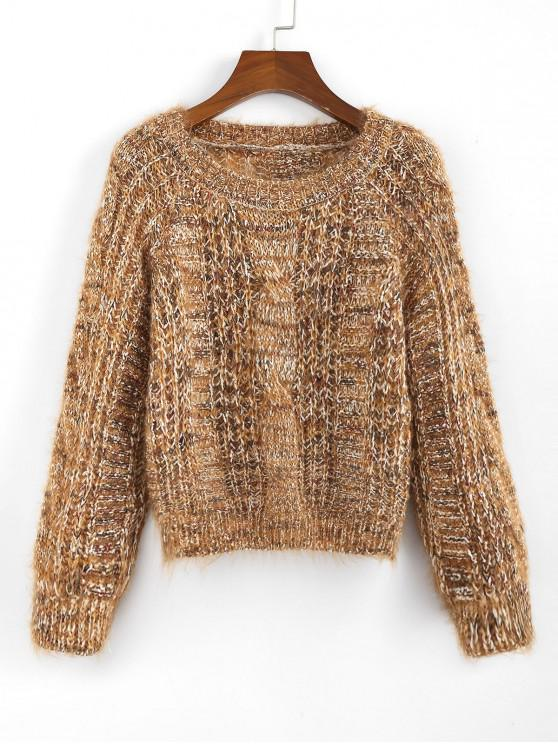 trendy ZAFUL x Yasmine Bateman Heathered Cable Knit Chunky Sweater - TIGER ORANGE S