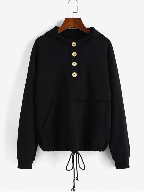 online ZAFUL Buttoned Drawstring Hem Hoodie - BLACK S