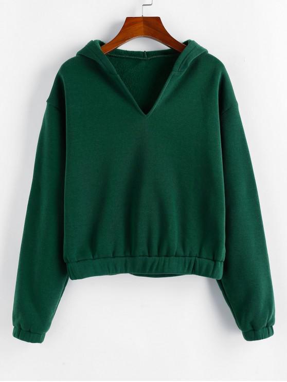 buy ZAFUL Drop Shoulder Fleece Lined Plain Hoodie - DEEP GREEN XL