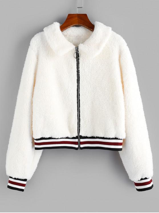 lady ZAFUL Striped Ribbed Hem Zip Fluffy Jacket - CRYSTAL CREAM L