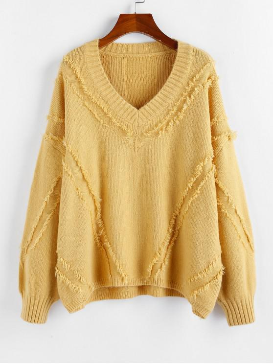 womens ZAFUL Frayed Detail Drop Shoulder V Neck Sweater - YELLOW M