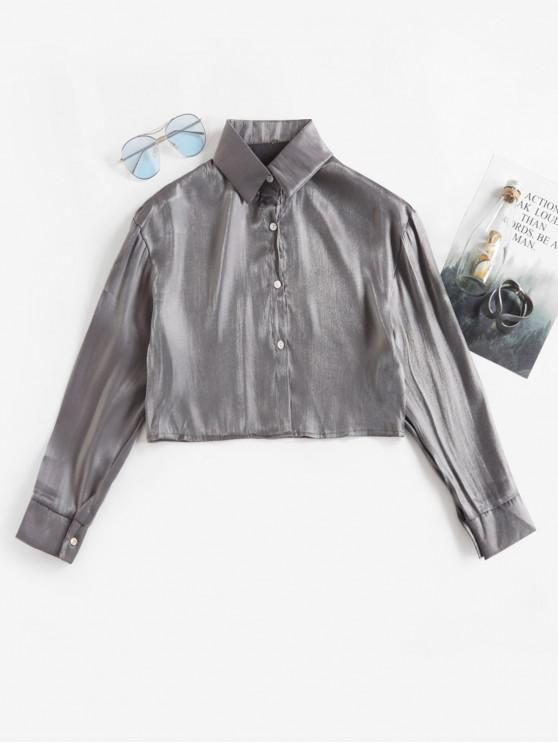 buy Button Up Crop Shiny Crinkly Shirt - SILVER ONE SIZE