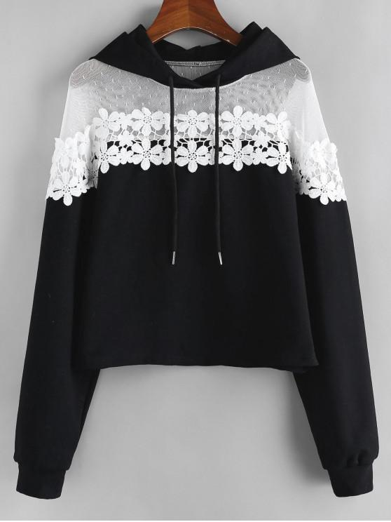 hot ZAFUL Flower Guipure Lace Drop Shoulder Hoodie - BLACK XL