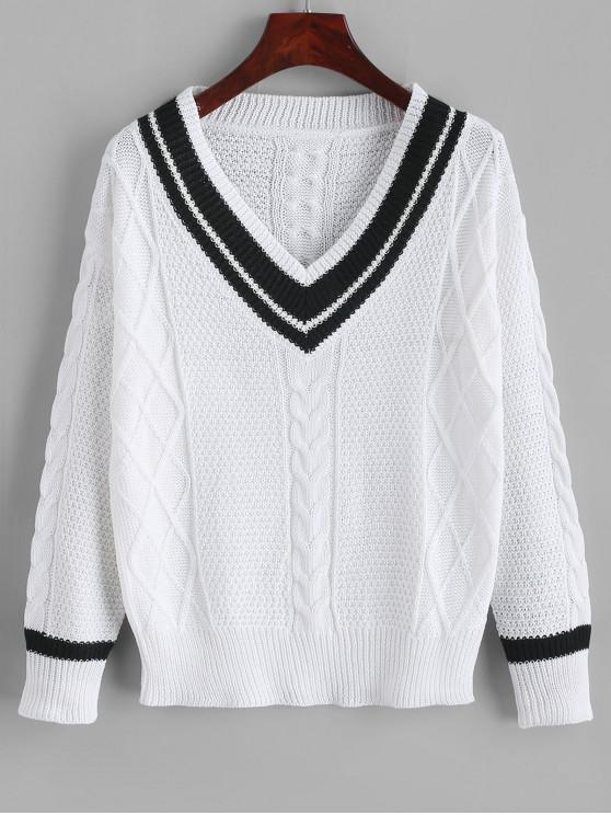 fancy Cable Knit Drop Shoulder Cricket Sweater - WHITE M