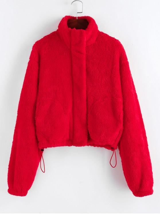 fashion ZAFUL Christmas Faux Shearling Zip Fluffy Pocket Coat - RUBY RED S