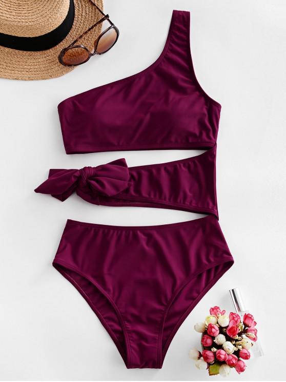 fashion ZAFUL Cutout One Shoulder Tie One-piece Swimsuit - PLUM PIE M
