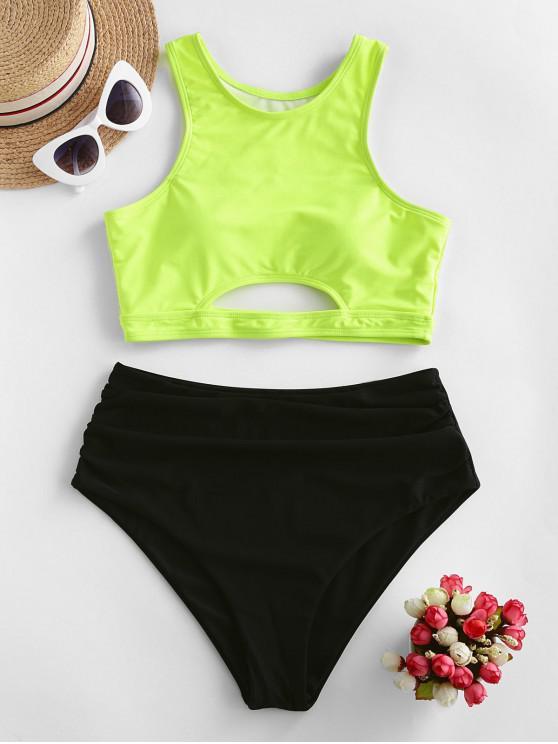 best ZAFUL Colorblock Cutout Tummy Control Tankini Swimsuit - GREEN YELLOW S