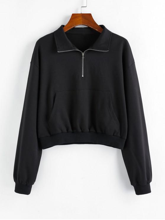 shops ZAFUL Drop Shoulder Half Zip Kangaroo Pocket Sweatshirt - BLACK S