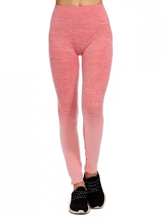 trendy Space Dye Ombre High Waisted Skinny Leggings - ROSE RED XL
