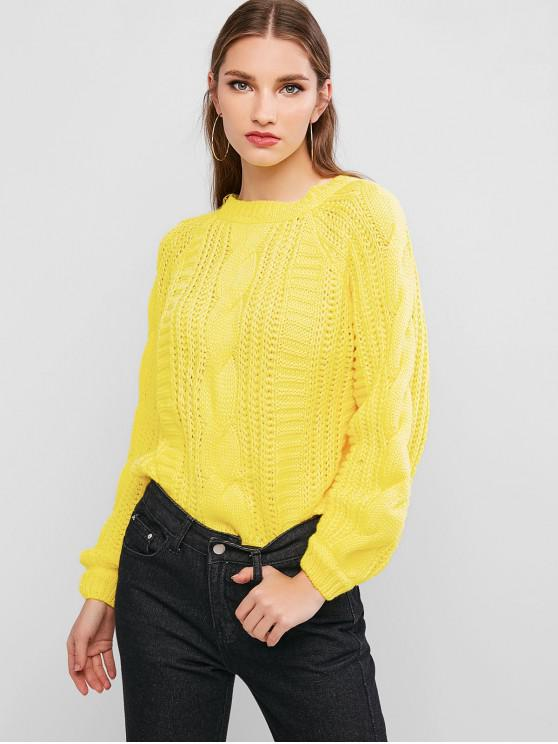 chic Solid Crew Neck Raglan Sleeve Cable Knit Sweater - YELLOW ONE SIZE