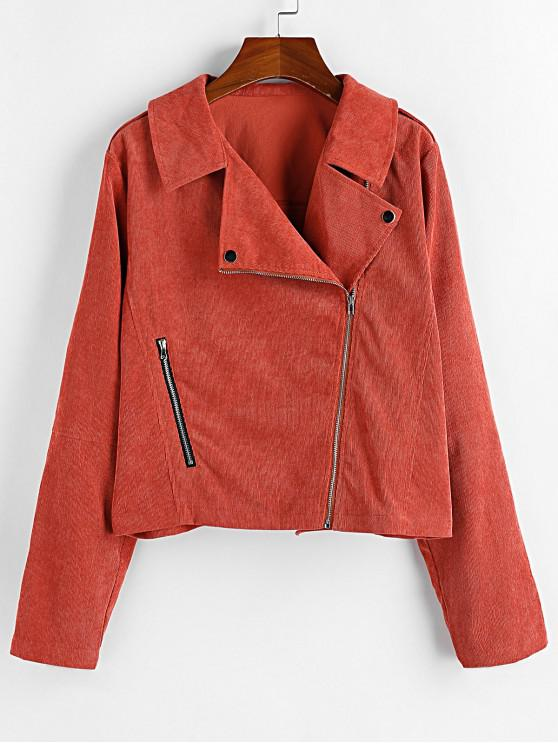 women ZAFUL Corduroy Inclined Zipper Casual Jacket - RUST XL