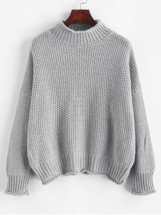 womens Drop Shoulder Rolled Edge Mock Neck Sweater - GRAY ONE SIZE