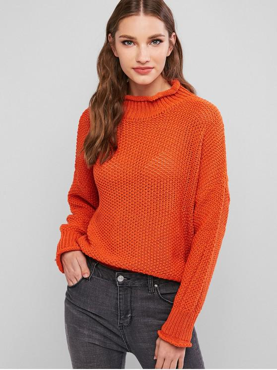affordable Drop Shoulder Rolled Edge Mock Neck Sweater - ORANGE ONE SIZE