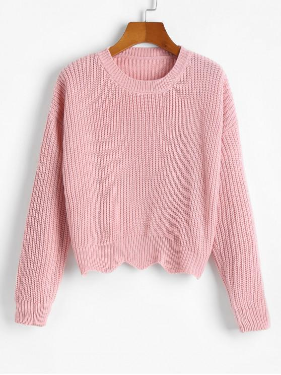 affordable Zigzag Hem Solid Loose Sweater - LIGHT PINK ONE SIZE
