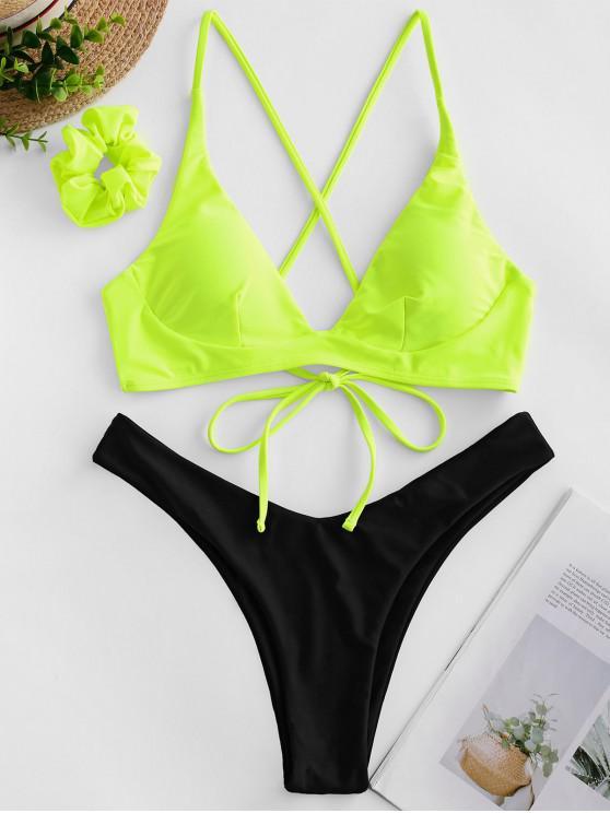 fancy ZAFUL Colorblock Criss Cross Bikini Swimsuit with Hair Tie - GREEN YELLOW L