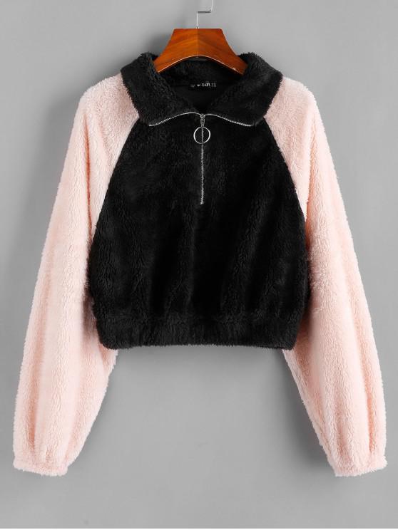 ZAFUL Half-zip Fuzzy colorblock Decupată Sweatshirt - Multi M