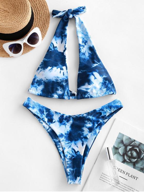 hot ZAFUL Tie Dye Halter High Cut Bikini Swimsuit - COBALT BLUE S