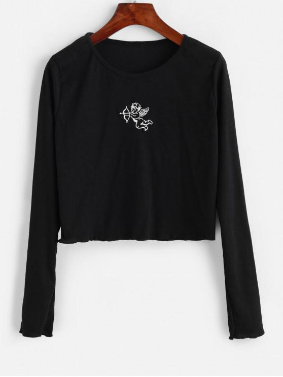 Geripptes Engel Gesticktes Langarm T-Shirt - Schwarz XL
