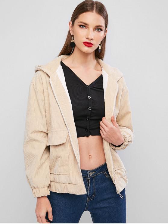 unique Hooded Corduroy Flap Pocket Zip Up Jacket - BEIGE XL