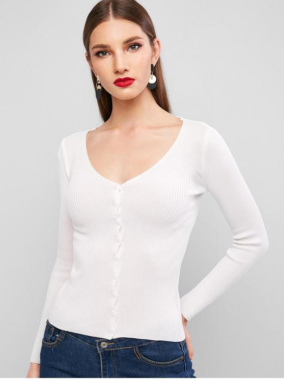 outfits Ribbed Button Up Slim Plunging Cardigan - WHITE ONE SIZE
