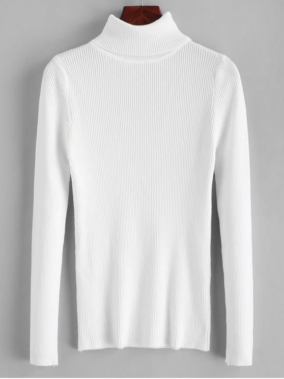 unique Turtleneck Ribbed Slim Knit Plain Sweater - WHITE ONE SIZE
