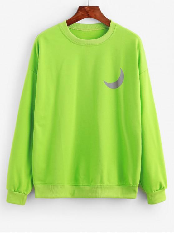 Sweat-shirt Lune Graphique Réfléchissant à Goutte Epaule - Vert L