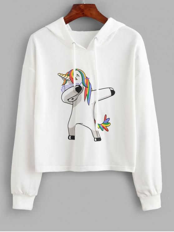 sale ZAFUL Funny Unicorn Print Drop Shoulder Hoodie - WHITE L