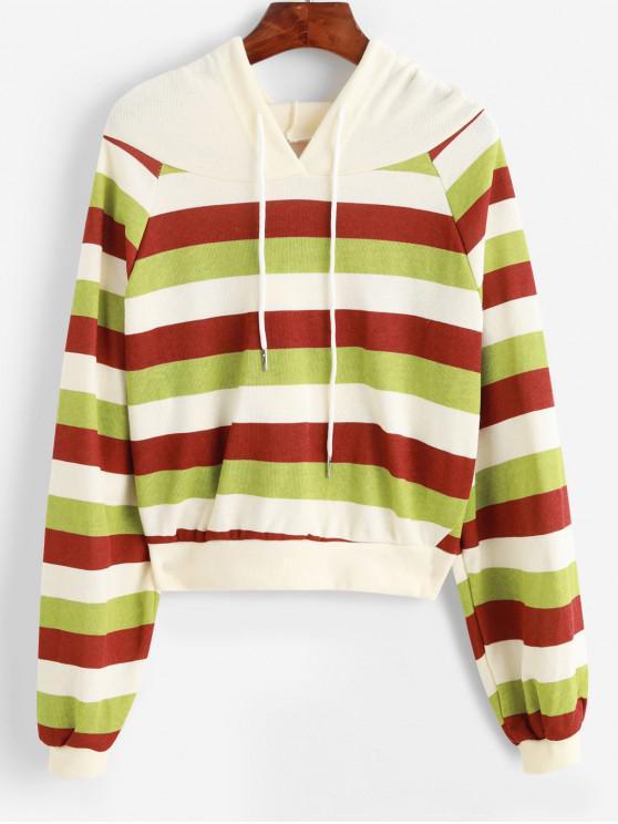 sale Raglan Sleeve Drawstring Stripes Hoodie - MULTI ONE SIZE