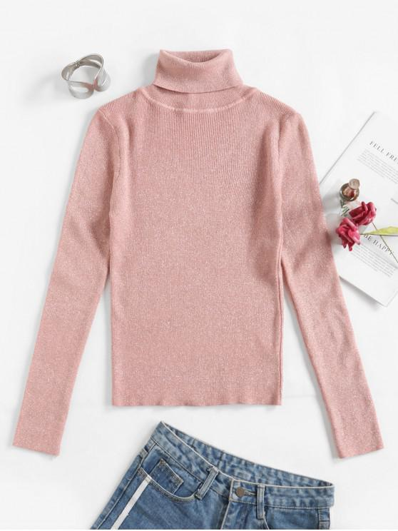outfits Shimmer Knit Turtleneck Fitted Sweater - LIGHT PINK ONE SIZE