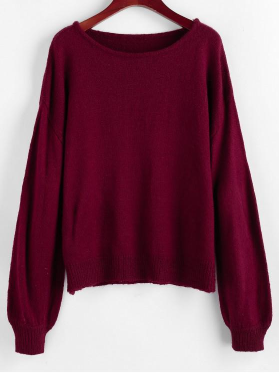 fancy ZAFUL Lantern Sleeve Drop Shoulder Plain Sweater - RED WINE M