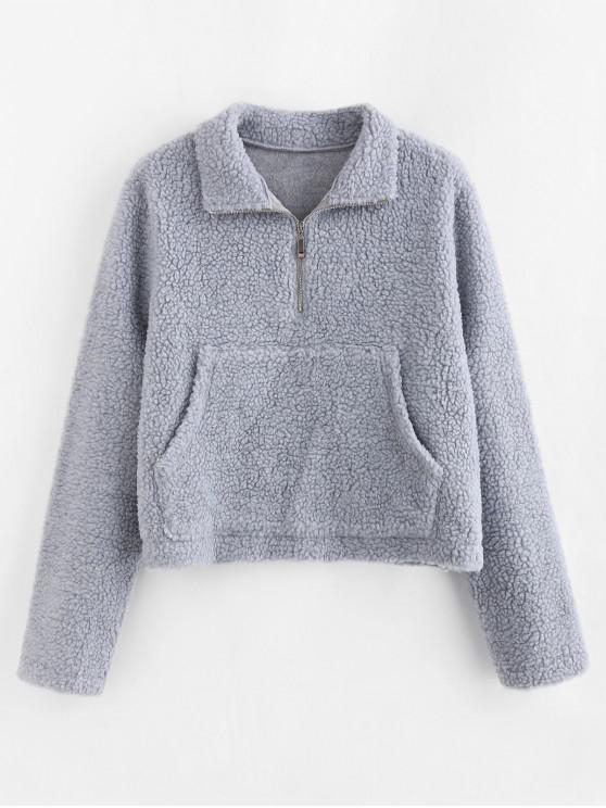 ZAFUL Sweat-shirt à Demi-Zip avec Poche Kangourou - Bleu Léger  S