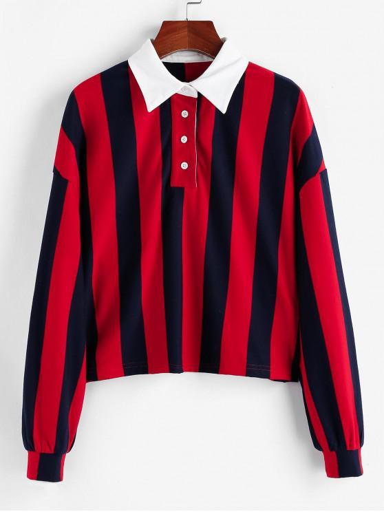 ZAFUL Sweat-shirt Rayé à Goutte Epaule - Rouge L