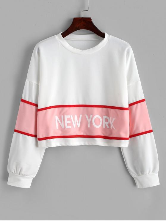 affordable Graphic Two Tone Piping Drop Shoulder Sweatshirt - WHITE M