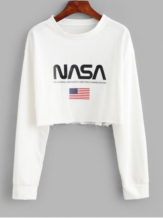 fancy American Flag Graphic Raw Cut Crop Sweatshirt - WHITE ONE SIZE