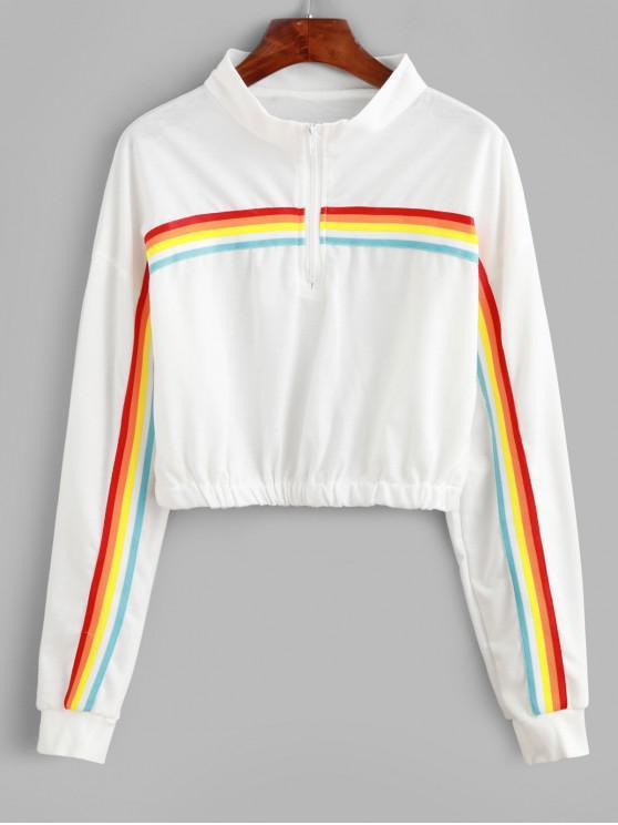 Sweat-shirt Rayé Arc-en-ciel Zip en Avant à Goutte Epaule - Blanc M
