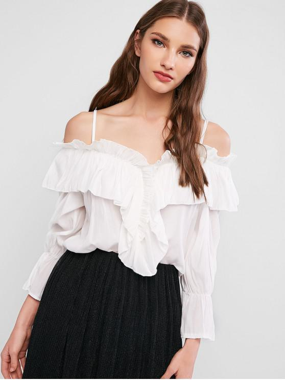fancy Frilled Cold Shoulder Flounce Blouse - WHITE ONE SIZE
