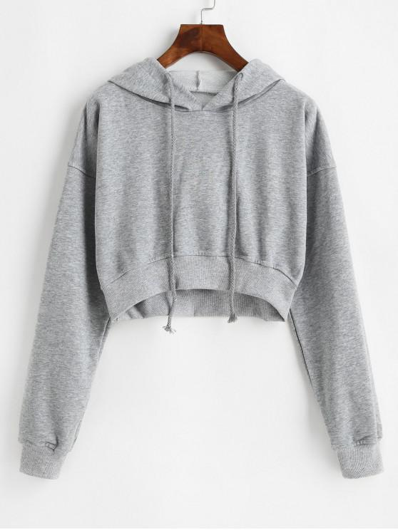 chic Drawstring Drop Shoulder Cropped Hoodie - GRAY M