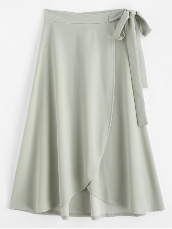 unique Self Tie Maxi Wrap Skirt - LIGHT GREEN 2XL
