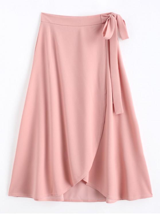 sale Self Tie Maxi Wrap Skirt - PINK 2XL