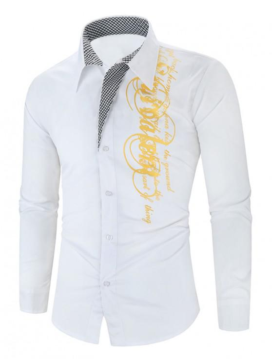 outfit Letter Graphic Grid Print Button Long Sleeve Shirt - WHITE 3XL