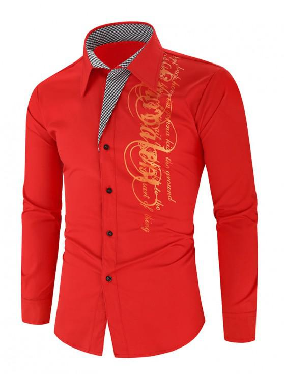 trendy Letter Graphic Grid Print Button Long Sleeve Shirt - RED 3XL