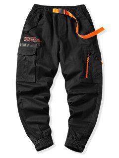 Letter Graphic Print Zipper Design Cargo Jogger Pants - Black L