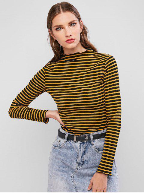 fashion ZAFUL Mock Neck Ribbed Stripes Tee - YELLOW M Mobile