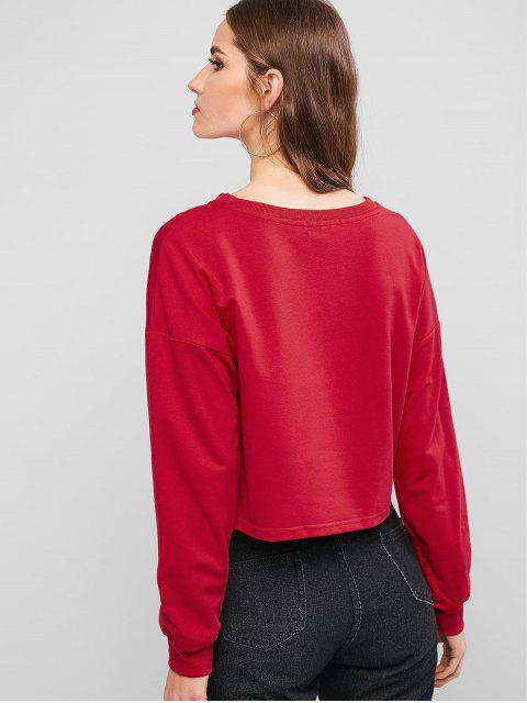 outfit ZAFUL Crew Neck Solid Crop Sweatshirt - RED S Mobile