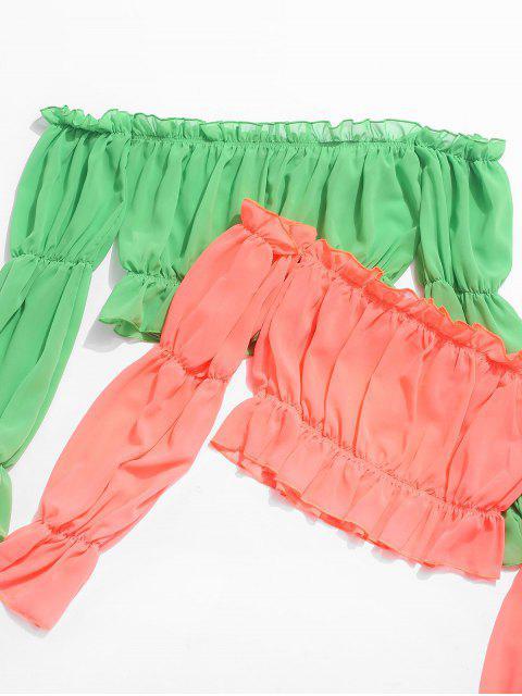ladies Off Shoulder Ruffle Crop Blouse - ORANGE S Mobile