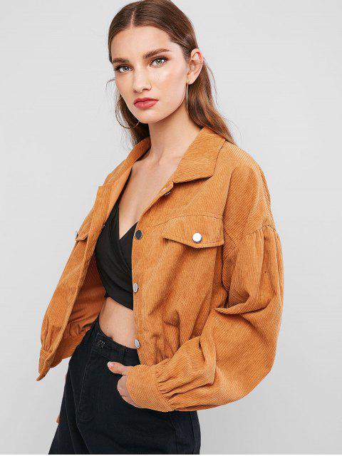 buy Button Up Faux Pockets Solid Corduroy Jacket - TIGER ORANGE M Mobile