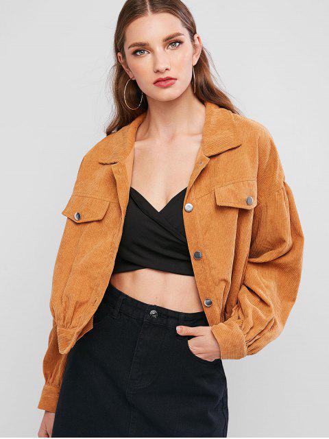 outfit Button Up Faux Pockets Solid Corduroy Jacket - TIGER ORANGE L Mobile