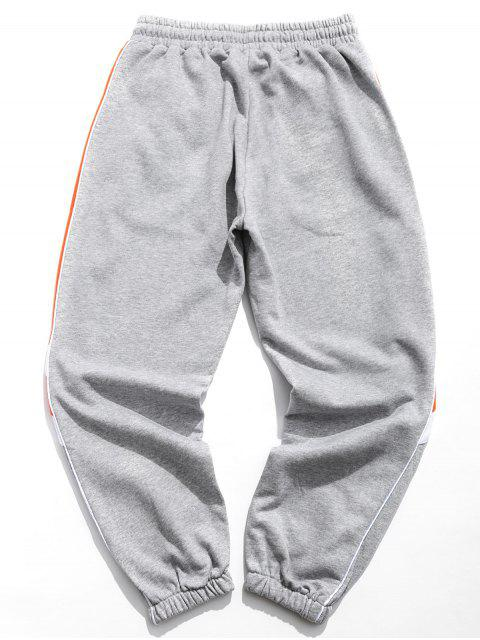 affordable Letter Graphic Print Contrast Trim Striped Jogger Pants - GRAY 2XL Mobile