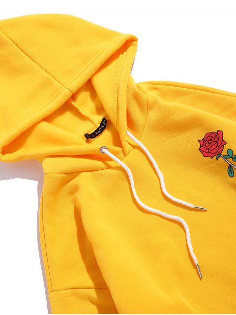 Sudadera con Capucha Lana y Bolsillo Canguro Estampado Rosa - Amarillo L Mobile
