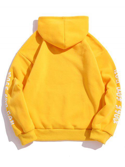 women's Rose Letter Fleece Kangaroo Pocket Pullover Hoodie - YELLOW XL Mobile